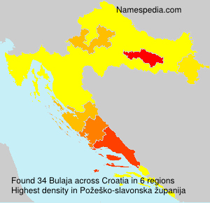 Surname Bulaja in Croatia