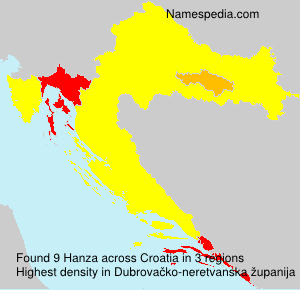 Surname Hanza in Croatia