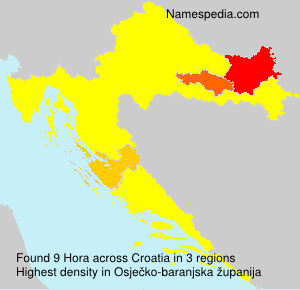 Surname Hora in Croatia