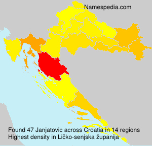 Surname Janjatovic in Croatia
