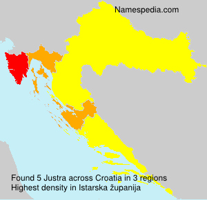 Surname Justra in Croatia