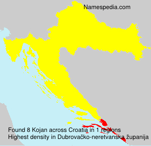 Surname Kojan in Croatia