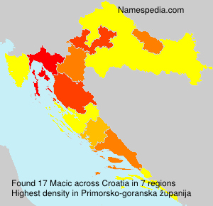 Surname Macic in Croatia