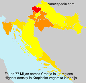 Surname Miljan in Croatia