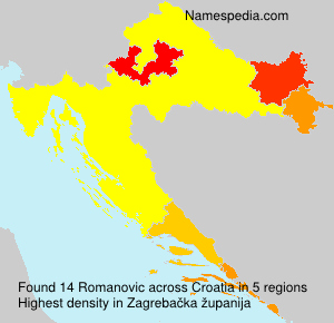 Surname Romanovic in Croatia