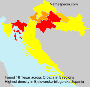 Surname Tesar in Croatia