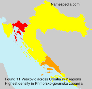 Surname Veskovic in Croatia