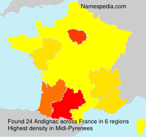 Surname Andignac in France