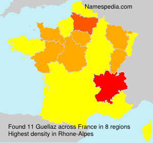 Surname Guellaz in France