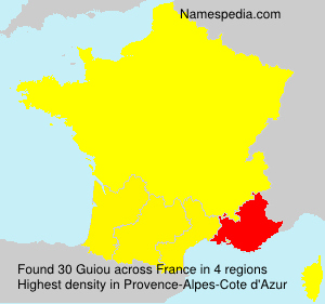 Surname Guiou in France