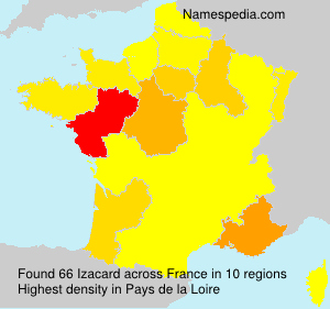 Surname Izacard in France