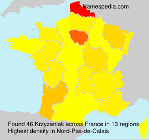 Surname Krzyzaniak in France