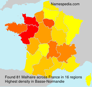 Surname Malhaire in France