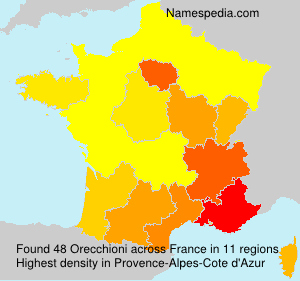 Surname Orecchioni in France