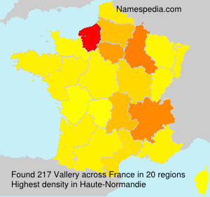 Surname Vallery in France