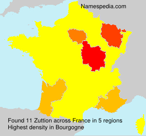 Surname Zuttion in France