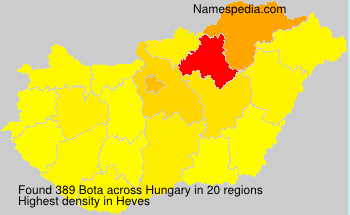 Surname Bota in Hungary