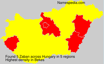 Surname Zaban in Hungary