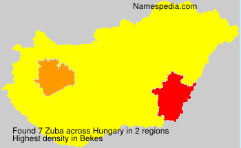 Surname Zuba in Hungary