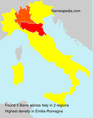 Surname Barre in Italy
