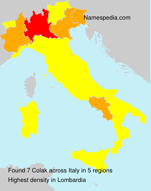 Surname Colak in Italy