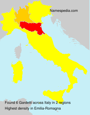 Surname Gardetti in Italy