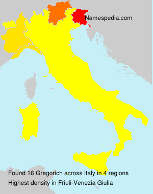 Surname Gregorich in Italy