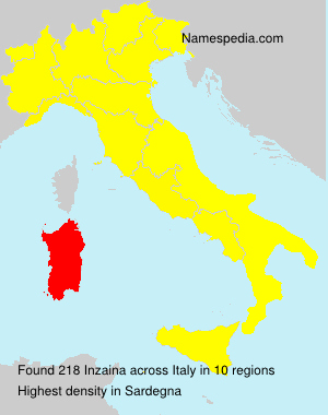 Surname Inzaina in Italy