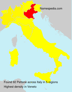 Surname Pettene in Italy