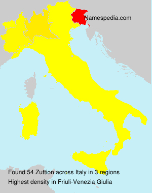 Surname Zuttion in Italy