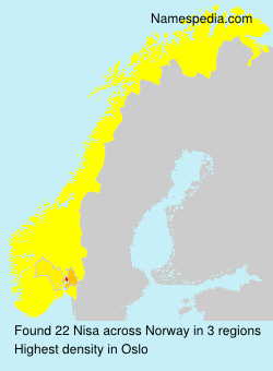Surname Nisa in Norway
