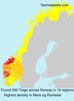 Surname Teige in Norway