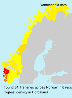 Surname Trettenes in Norway