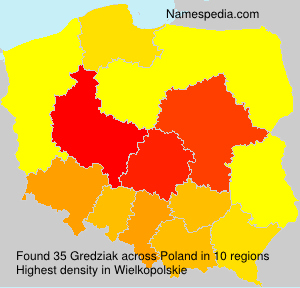 Surname Gredziak in Poland