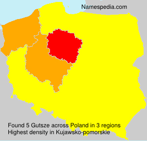 Surname Gutsze in Poland