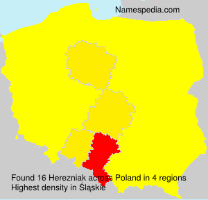 Surname Herezniak in Poland