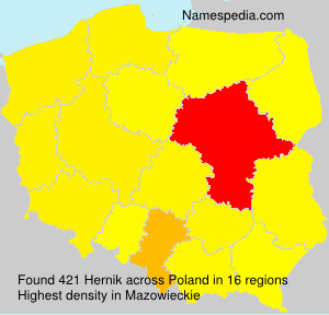 Surname Hernik in Poland
