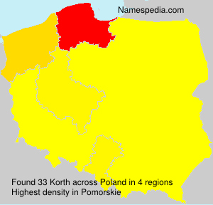 Surname Korth in Poland