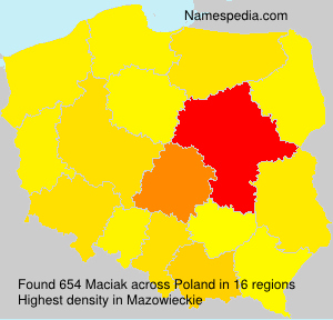Surname Maciak in Poland