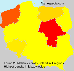 Surname Maksiak in Poland