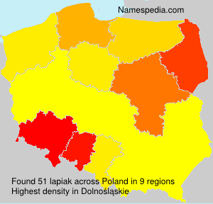 Surname lapiak in Poland