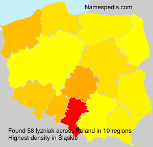 Surname lyzniak in Poland