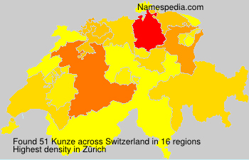 Surname Kunze in Switzerland