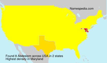 Surname Abdeslem in USA