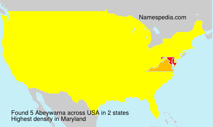 Surname Abeywarna in USA