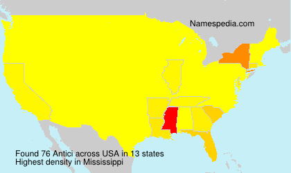 Surname Antici in USA