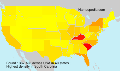 Surname Aull in USA