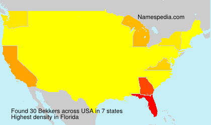 Surname Bekkers in USA