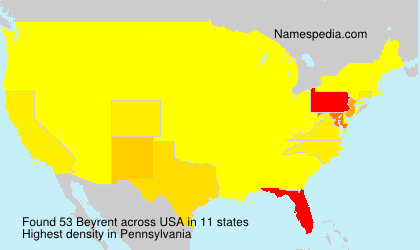Surname Beyrent in USA