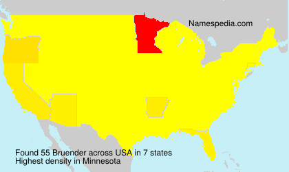 Surname Bruender in USA
